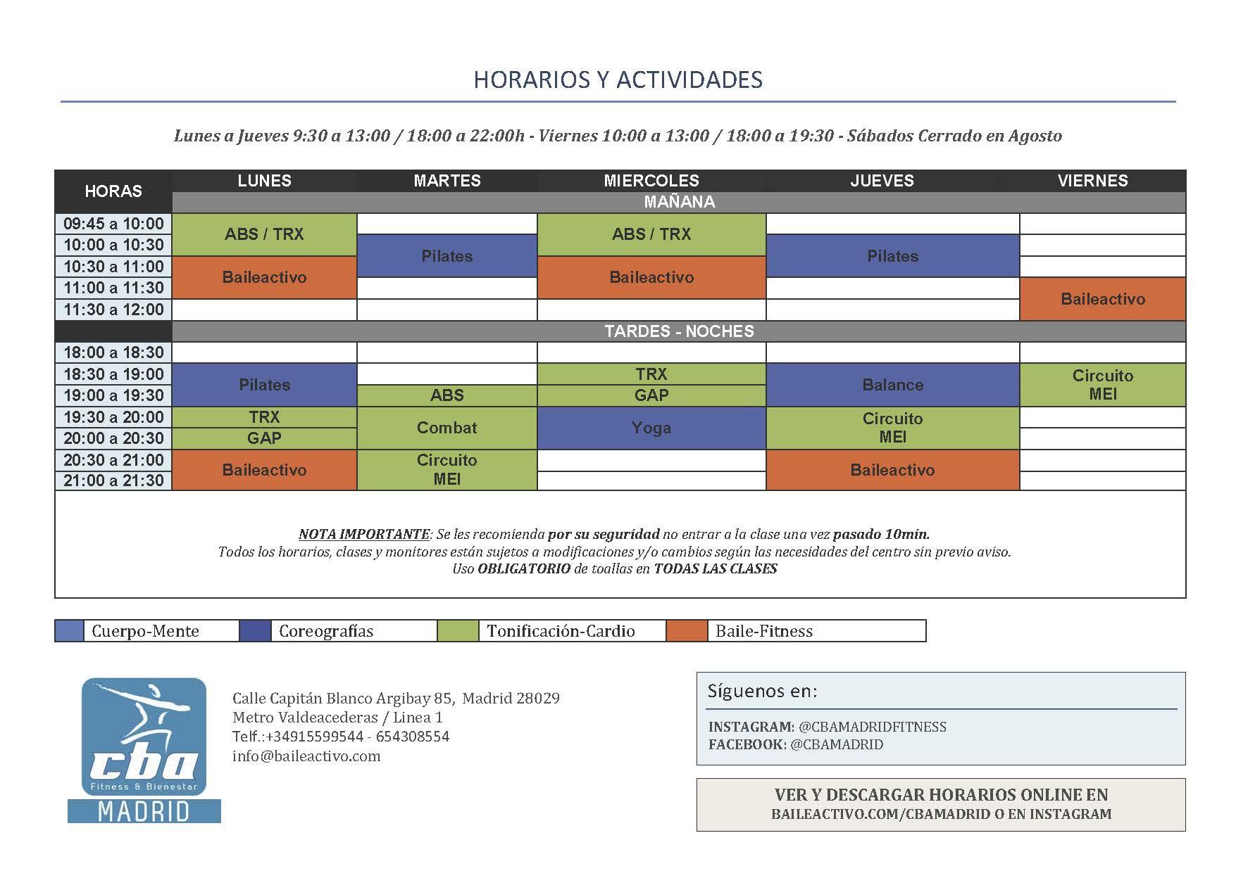 HORIAIOS ACTIVIDADES FITNESS   COLECTIVAS Y DIRIGIDAS