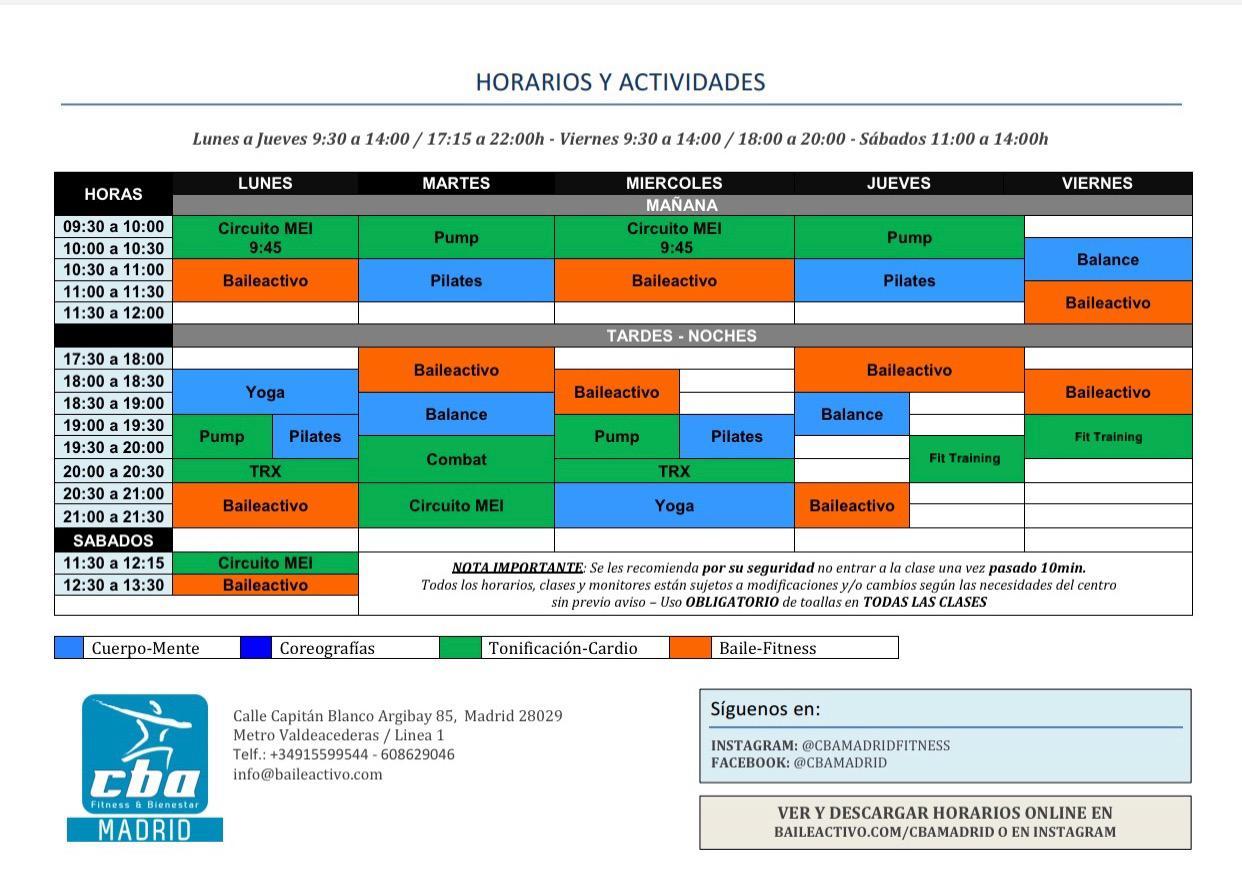 HORARIOS ACTIVIDADES FITNESS | COLECTIVAS Y DIRIGIDAS